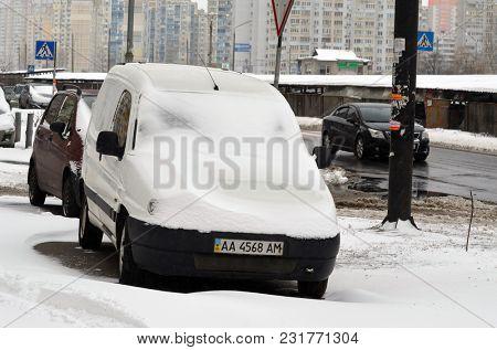 City after heavy snow fall. March 17, 2018. Kiev,Ukraine