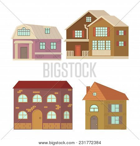 Set Of Cartoon House Isolated On White Background. Stone Home Or Cottage Building. Rural Mansion In