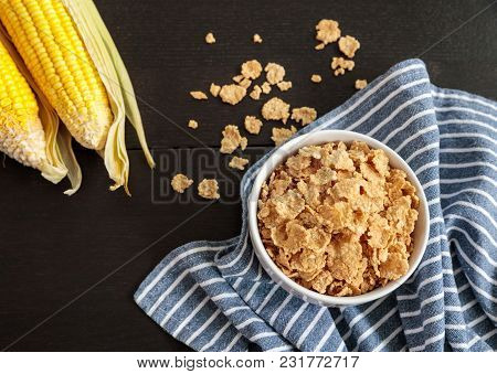 Healthy Corn Flakes With Milk For Breakfast On Table