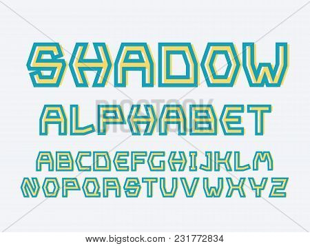 Strict Shadow Font. Vector Alphabet Letters. Typeface Design.