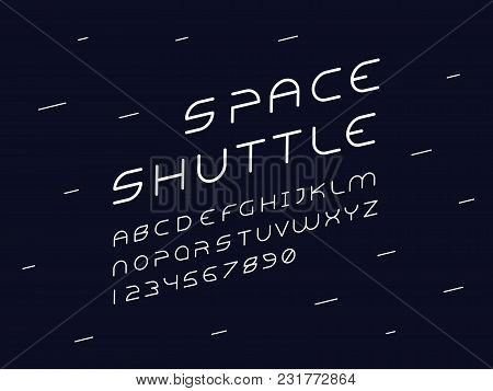 Alien Italic Font. Space Shuttle, Vector Alphabet Letters And Numbers. Typeface Design.