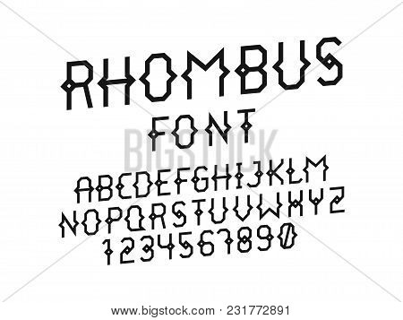 Rhombus Italic Font. Vector Alphabet Letters And Numbers. Typeface Design.