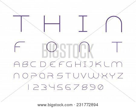 Alien Thin Font. Vector Alphabet Letters And Numbers. Typeface Design.