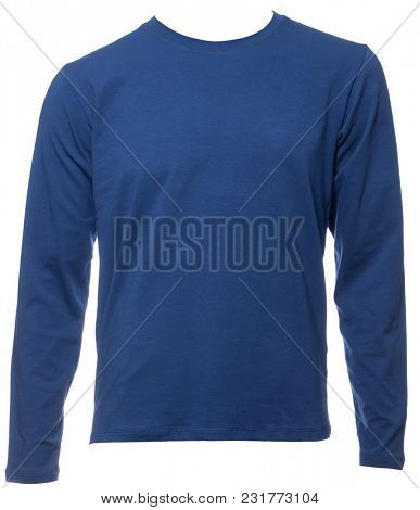 Blue plain long sleeved cotton T-Shirt on a mannequin isolated on a white background