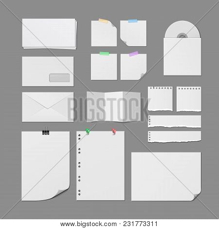 Office Paper Supplies. Postal Paper Envelopes, Torn Notebook Pages, White Paper Sheets With Pins And