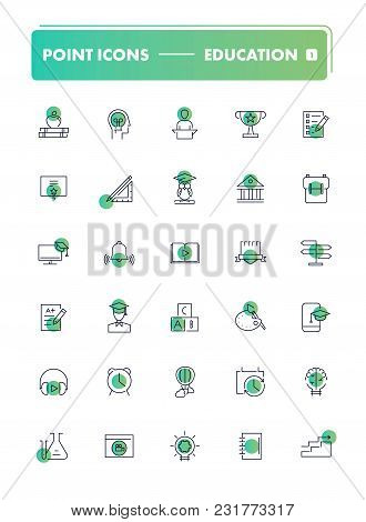 Set Of 30 Line Icons. Education Collection. Vector Illustration Or Studying, Learning, Teaching, Wis