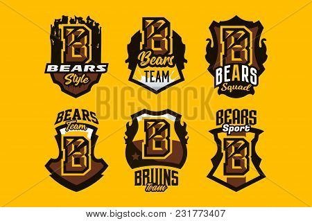 A Set Of Colorful Emblems, Badges, Stickers, Logos On A Bear Theme. A Letter, A Cut From Claws, A Wo