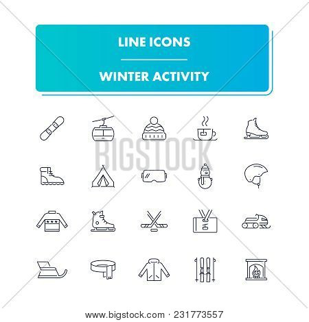 Line Icons Set. Winter Activity Pack. Vector Illustration For Sport And Active Life