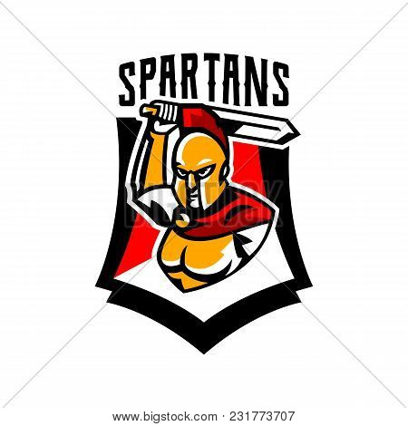 Emblem, Logo, Badge, Spartan With A Sword. Ancient Greek Warrior, Gold Armor, Hoplite, Corinthian He