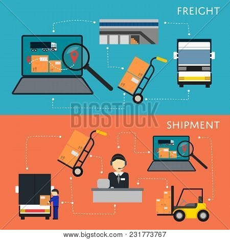 Logistics And Freight Shipment Flowchart Set Illustration. Services Operator Coordinating Cargo Tran