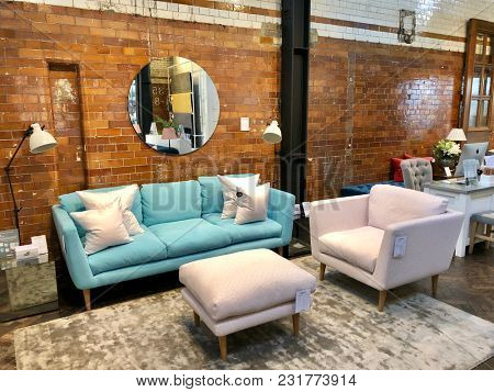 LONDON - FEBRUARY 24, 2018: Sofa.com showroom in Angel, Islington, London, UK.