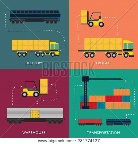 Warehouse And Freight Transportation Banner Set Illustration. Forklift Loading Boxes In Container Tr