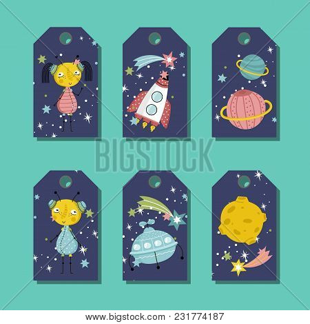 Blue Price Tag With Space Cartoons. Cute Aliens Characters, Rocket, Flying Saucer, Planet Saturn, Mo