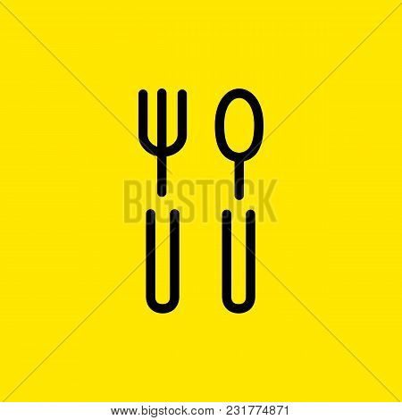 Line Icon Of Fork And Spoon. Canteen, Cafe, Restaurant. Eating Concept. Can Be Used For Web Pictogra
