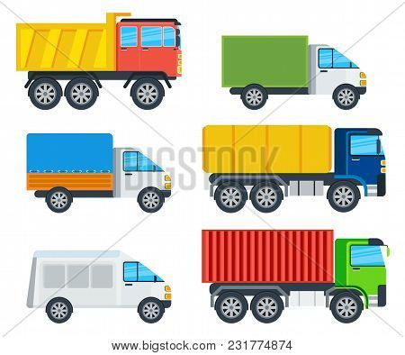 Trucks Cartoon Models. Lorry, Freezer, Tipper, Road Tanker, Mining Truck, Container Carrier, Wagon I