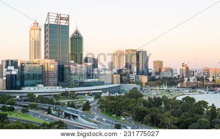 Perth, Western Australia - February 21, 2018: Dusk Falls Over The City Of Perth, The Capital Of West