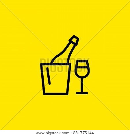 Icon Of Champagne In Bottle Cooler And Glass. Bucket, Ice, Flute. Celebration And Drinks Concept. Ca