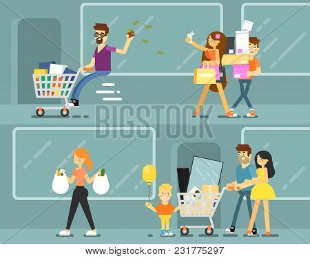 Happy Shopping People With Shopping Bags Illustration. Young Couple And Family With Child In Shoppin