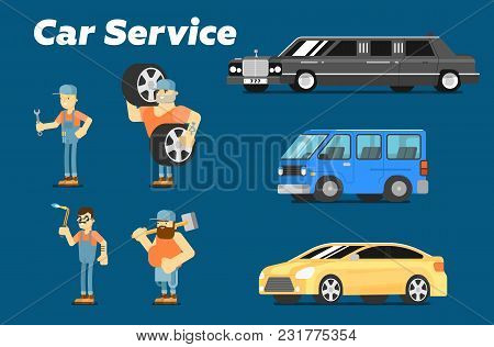Car Repair Service Concept Banner Illustration. Serviceman In Uniform At Work. Car Mechanic With Too