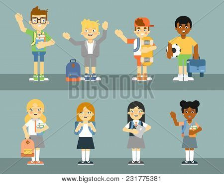 School Pupil With Backpack Isolated Illustration. Schoolboy And Schoolgirl In Uniform, Elementary Sc