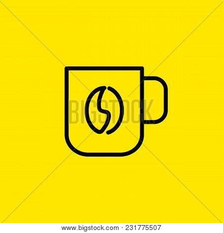 Icon Of Coffee Mug With Bean. Cup, Drink, Design. Cafeteria Concept. Can Be Used For Topics Like Cof