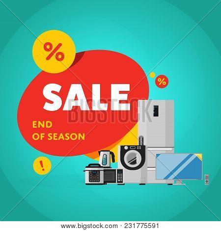 Household Appliances Discount Season Sale Banner Illustration. Sale Tag, Discount Symbol, Retail Sti