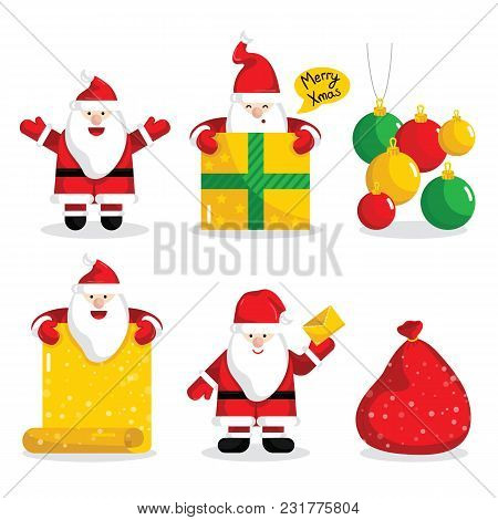 Christmas Santa Claus Characters Collection Illustration. Merry Christmas And Happy New Year Concept