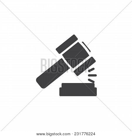 Law Gavel Vector Icon. Filled Flat Sign For Mobile Concept And Web Design. Auction Hammer, Justice S