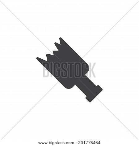 Broken Bottle Vector Icon. Filled Flat Sign For Mobile Concept And Web Design. Broken Glass Simple S