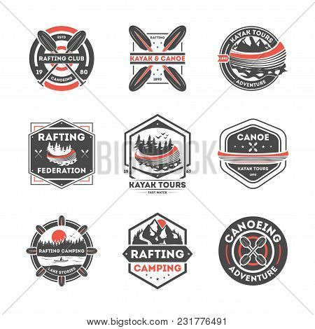 Rafting Club Vintage Isolated Label Set Illustration. Kayak Tours Symbol. Canoeing Adventure Icon. R