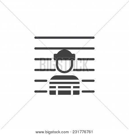Mug Shot Vector Icon. Filled Flat Sign For Mobile Concept And Web Design. Arrested Man Simple Solid
