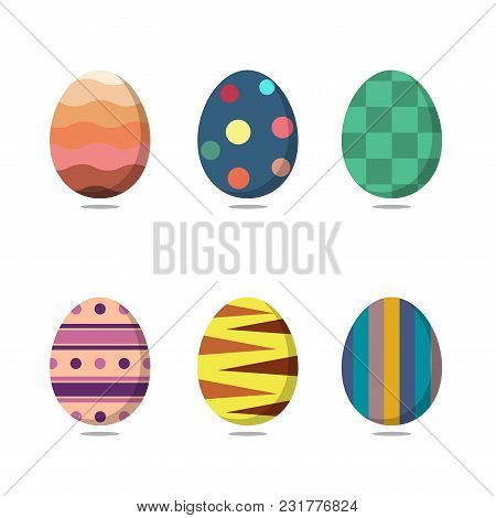 Set Of Colorful Easter Eggs On White Background. Vector Illustration