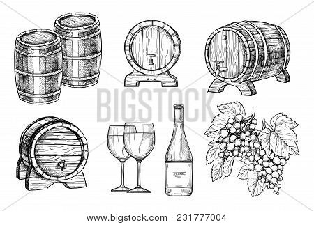 Wine Making Hand Drawn Set Illustration. Bottle Of Wine, Wooden Wine Barrel, Wineglass And Bunch Of