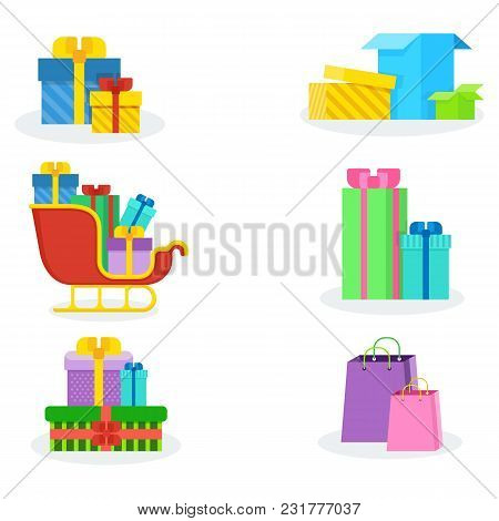 Different Colorful Present Boxes Isolated On White Background. Giftbox Icons Set In Flat Design. Ann