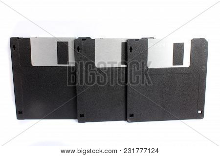 A Set Of 1.44 Mb Floppies Used For Storing Data In Computers In The 90s.