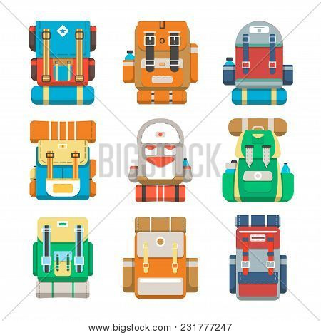 Camping And Travel Backpack Icon Set Illustration Isolated On White Background. Tourist Back Pack, C