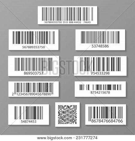Realistic Barcode Icon Set Isolated Illustration. Market Mark Symbol, Retail Product Sticker Templat