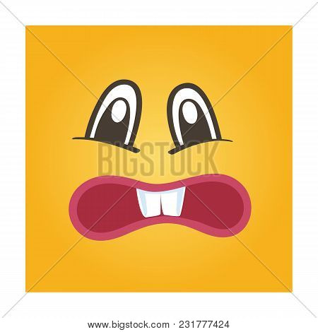 Embarrassed Smiley Face Icon. Funny Facial Expression Emoji, Cute Comic Emoticon Isolated Illustrati
