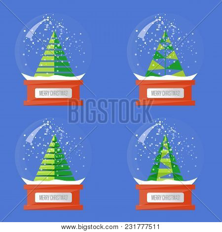 Christmas Snow Globes. Variety Forms Christmas Trees Abstract S. Glass Souvenir With Xmas Attributes