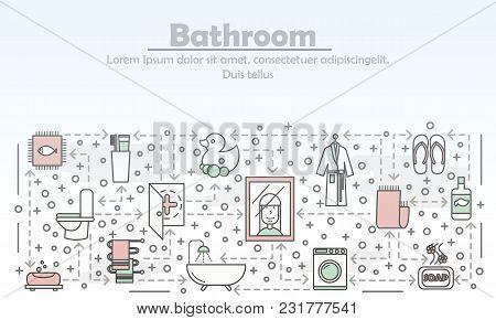 Bathroom Advertising Vector Illustration. Modern Thin Line Art Flat Style Design Element With Bathro