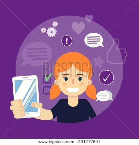 Smiling Cartoon Girl Holding Smartphone On Perpl Background With Communication Icons, Illustration.