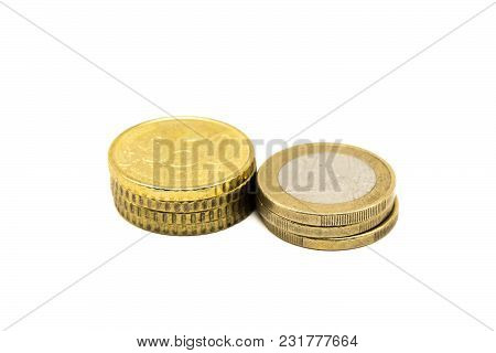 50 Cent And 1 Euro Coins Isolated On White Background