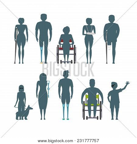Disabled People Silhouette Isolated Set Illustration. Invalid Person, Blind Woman, Broken Arm, Peopl