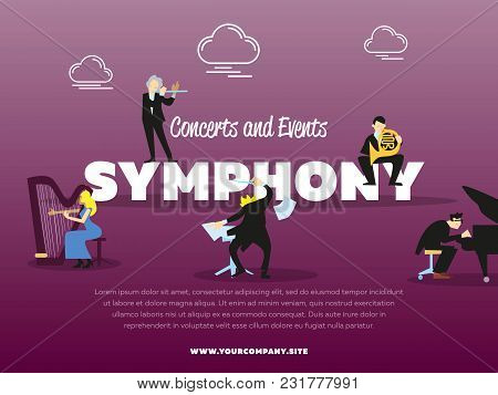 Concerts And Events Symphony Orchestra Banner Illustration. Conductor, Pianist, Trumpeter, Harpist C