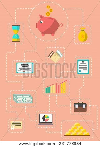 Investment In Securities Infographic Concept Illustration. Investing In Stocks, Gold, Currency, Depo