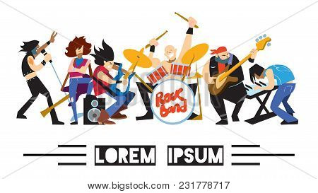 Rock Band, Music Group With Musicians Concept Of Artistic People Illustration. Singer, Guitarist, Dr