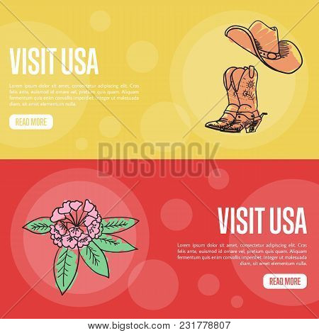 Visit Usa Banners. Cowboy Boots And Hat, Rhododendron Flower Hand Drawn Illustrations On Colored Bac