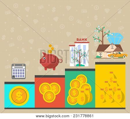 Investment In Old Age Infographics Illustration. Presentation Of Retirement Money Plan, Financial Gr