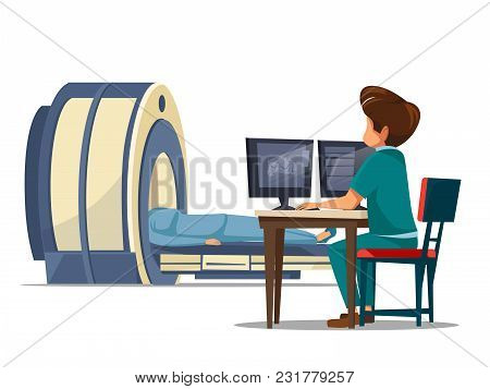 Vector Cartoon Computer Tomography Ct Or Magnetic Resonance Imaging Mri Patient Scanning Concept. Ma