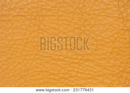 Genuine Leather Texture, For Background, Bright Orange Color. Modern Background, Backdrop, Substrate
